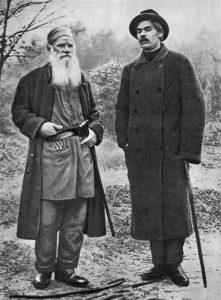 М. Горький и Л. Толстой. Ясная Поляна. 1900 год