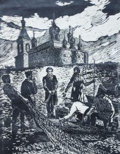 Гравюра В. Котельникова-Гофмана «Пушкин у казаков»