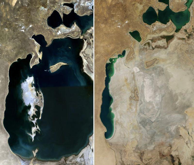 Аральское море в 1989 году (слева) и в 2014 году (справа). Вид с космоса