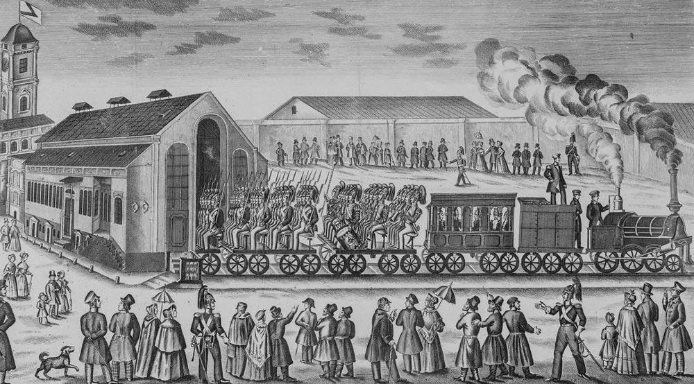 Лубок 1852 года в честь открытия железной дороги