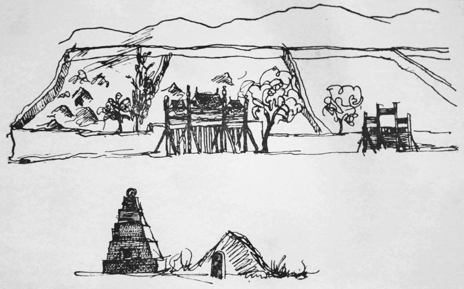 Городские ворота в Западном Китае. Рисунок Ч. Валиханова