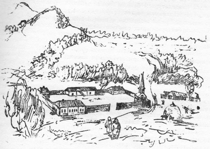 Сырымбет ауылы. 1853 г. Рис. Чокана