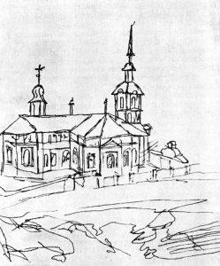 Мечеть (Семипалатинск). Рисунок Ч. Валиханова. 1856 г.