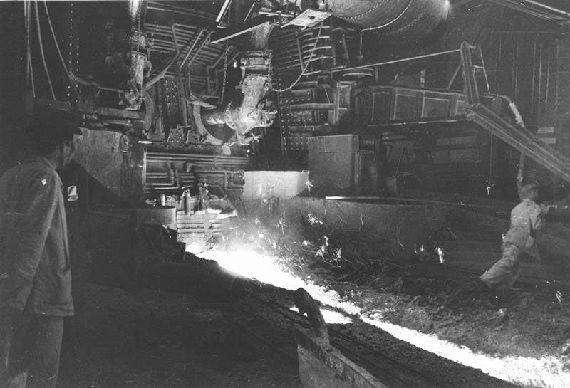 Пуск домны на заводе «Запорожсталь». 1947 г.